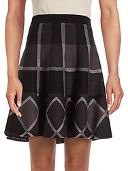 Saks Fifth Avenue Plaid A Line Skirt Black Grey