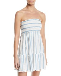 Milly Striped Embroidered Strapless Coverup Dress Blue