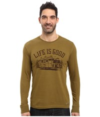 Life Is Good Airstream Long Sleeve Crusher Tee Woodland Green Men's Long Sleeve Pullover