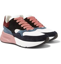 Alexander Mcqueen Exaggerated Sole Suede And Mesh Sneakers Multi