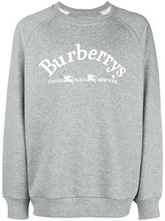 Burberry Embroidered Archive Logo Sweater Grey