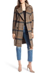 Kendall Kylie Double Breasted Wool Coat Brown Plaid