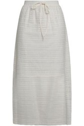 Dkny Woman Cotton Blend Corded Lace Midi Skirt Ivory
