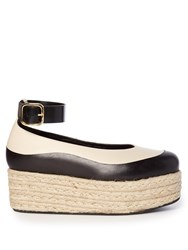 Marni Bi Colour Leather Flatform Espadrilles Black Cream
