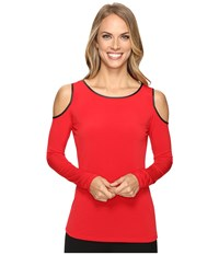 Calvin Klein Cold Shoulder Top W Faux Leather Rouge Women's Clothing Red