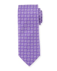 Eton Square Medallion Silk Tie Purple