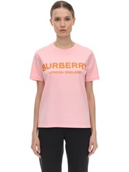 Burberry Logo Printed Cotton Jersey T Shirt Pink