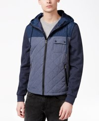 American Rag Men's Colorblocked Quilted Full Zip Hoodie Only At Macy's Basic Navy