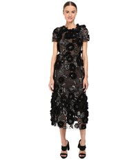 Marchesa Tulle Cocktail With Gunmetal And Jet 3D Feather Flower Embroidery Black Women's Dress