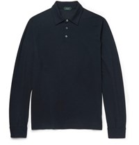 Incotex Slim Fit Knitted Cotton Polo Shirt Blue