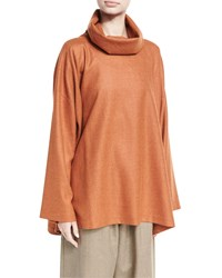 Eskandar A Line Cowl Neck Monk's Top Orange