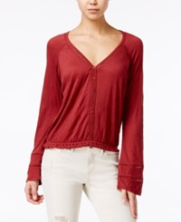 American Rag Bell Sleeve Crochet Trim Peasant Top Only At Macy's Russet Brown