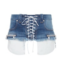 Unravel Lace Up Denim Belt Blue