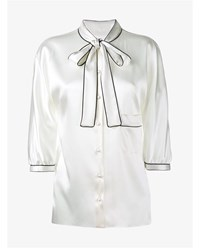 Dolce And Gabbana Three Quarter Length Sleeve Silk Shirt White Black
