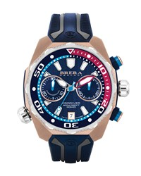 47Mm Prodiver Chronograph Watch With Rubber Strap Navy Rose Gold Men's Brera