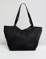 Asos Design Lightweight Shopper Bag With Double Compartments Black