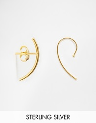 Asos Gold Plated Sterling Silver Mismatch Fine Wire Stud And Through Earrings