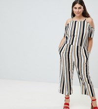 Ax Paris Plus Stripe Jumpsuit Tan Navy Stripe Multi