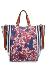 Tommy Bahama Reef Convertible Tote Blue Tropical Flowers