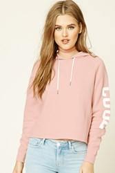 Forever 21 Cool Vibes Graphic Hoodie Pink Cream