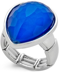 Styleandco. Style And Co. Silver Tone Blue Stone Teardrop Ring