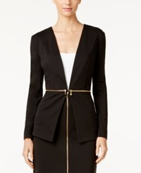 Grace Elements Faux Zipper Waist Jacket Black