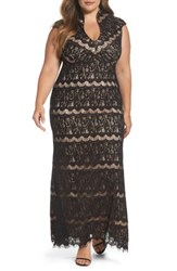 Marina Plus Size Women's Lace Empire Gown Black Nude