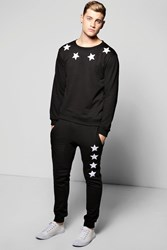 Boohoo Embroidered Tracksuit Black