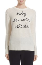 Kate Spade Women's New York 'Baby It's Cold Outside' Embroidered Wool Blend Sweater