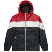 Moncler Gamme Bleu Tricolour Hooded Jacket Red