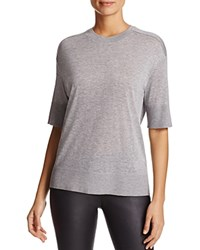 Dkny Pure Elbow Sleeve Crewneck Tee Pale Heather Grey