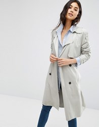 Mango Double Breasted Belted Trench Coat Light Beige