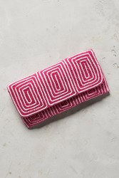 Anthropologie Maizie Beaded Clutch Pink