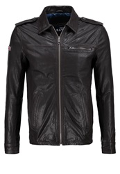Superdry Hero Benjamin Leather Jacket Blackbrown