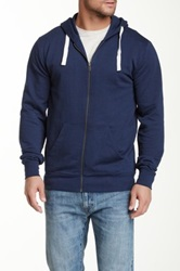 Shine Basic Hooded Zip Front Sweater Blue
