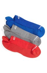 Road Runner Sports Women's R Gear Unstoppable 3 Pack No Show Socks Royal Anthracite Red