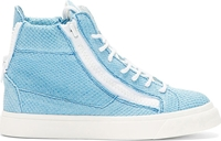 Giuseppe Zanotti Powder Blue Etched High Top Sneakers