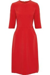 Reem Acra Silk Crepe Dress Red