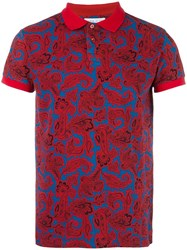 Etro Allover Print Polo Shirt Red