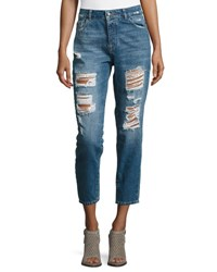 Dl1961 Goldie High Rise Tapered Jeans Shredded Indigo