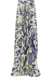 Just Cavalli Pleated Printed Chiffon Maxi Skirt Multi