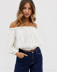 Free People Dancing Till Dawn Off Shoulder Top White