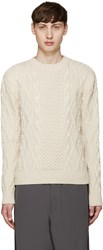 Alexander Mcqueen Off White Cableknit Sweater