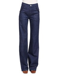 See By Chloe Embroidered Wide Leg Denim Jeans Indigo Size 30
