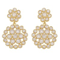Carousel Jewels Sliced Crystal Double Circle Earrings Gold