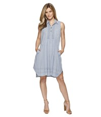 Dylan By True Grit Stripe Shirt Pintuck Dress With Pockets Chambray Women's Dress White