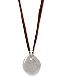 Robert Lee Morris Soho Silver Tone Hammered Disc Corded Long Length Pendant Necklace