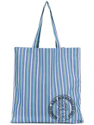 Stella Mccartney Striped Tote Bag Men Cotton One Size Blue
