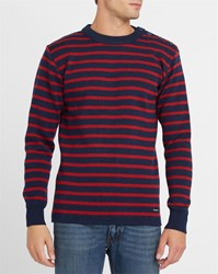 Armor Lux Navy And Red Fouesnant Wool Sailor Stripe Sweater Blue
