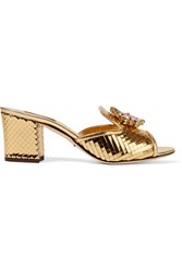 Dolce And Gabbana Crystal Embellished Metallic Leather Mules Gold